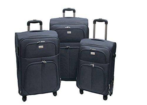 Trolley valigia set valigie semirigide set bagagli in tessuto super leggeri 4 ruote piroettanti trolley piccolo adatto per cabina con compagnie lowcost art.214 (Grigio)
