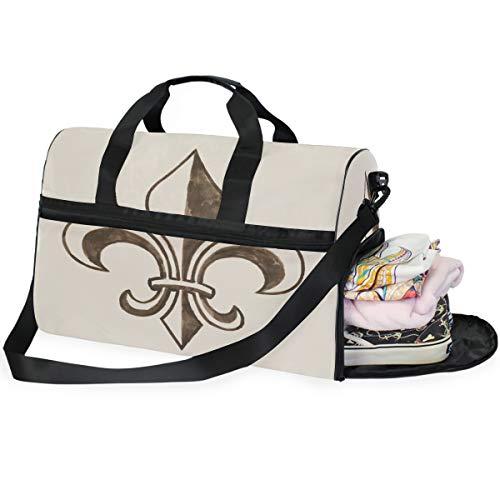 Große Kapazität Reisetasche Fleur De Lis Handgezeichnet Duffel Bag Gym Schuh Fach Sport Tote Bag Handtasche Gepäck Bag (Fleur Di Lis Gepäck)