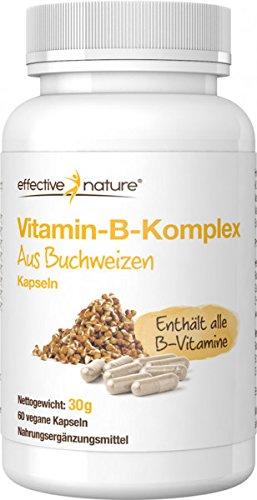 effective nature Vitamin-B-Komplex aus Buchweizen - 60 Vegane Kapseln - Enthält alle B-Vitamine