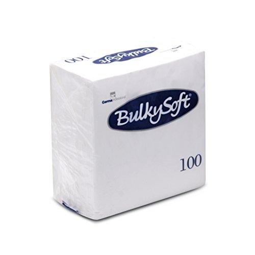 Prägeservietten 1/4 Falz, 1-lagig, 30 cm x 30 cm, Weiß (100-er Pack) (Weiße Servietten)