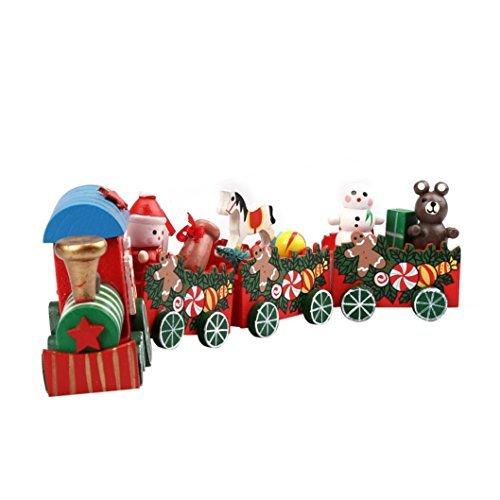 Iuhan Pieces/Set Wood Christmas Xmas Train Decoration Decor Multicolor