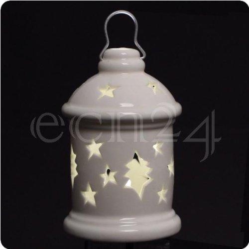 Porzellan Laterne mit LED Kerze und Autotimer