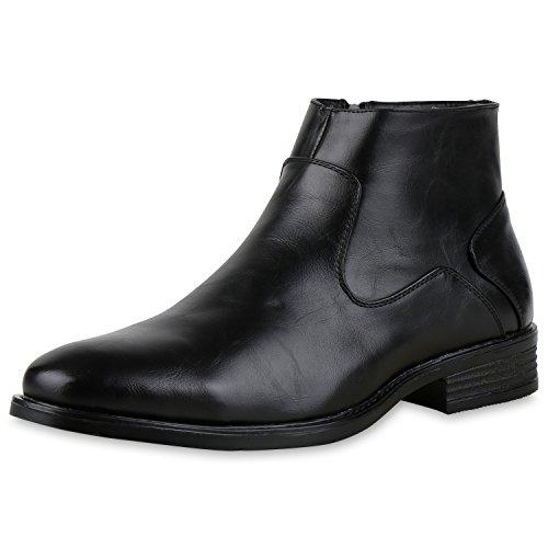 SCARPE VITA Klassische Herren Boots Elegante Leder-Optik Business Stiefeletten 165353 Schwarz 43