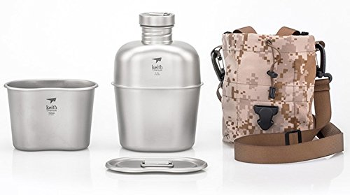 Keith Trekking Bottiglia d'acqua con Tazza Titanio Military Mensa Acqua Campeggio portatile caffettiera