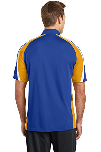 Sport-Tek Tricolor Micropique Sport-Wick ST654 Polo True Royal/Gold/White