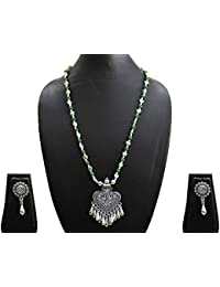 AyA Fashion Designer Antique Oxidised German Silver Metal Necklace With Green And Silver Beads And Lovely Pair...