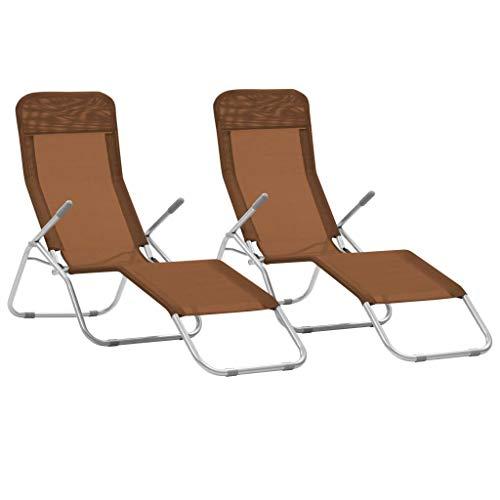 Festnight Lot de 2 pcs Chaise Longue Pliable de Jardin Bain de Soleil pour terrasse d'extérieur Patio Taupe 142 x 60 x 97 cm