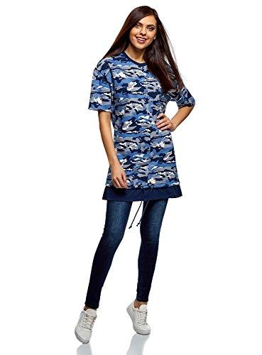 oodji Ultra Femme Sweat-Shirt Oversize Imprimé à Manche avec Bord à Cru, Bleu, FR 40 / M
