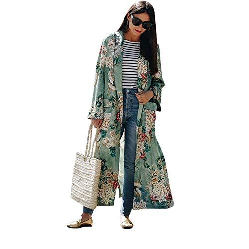 Cardigan Damen Große Größen Chiffon Mantel Frühling Mädchen Herbst Schöne Casual Basic Festliche Kimono Langarm Knopfleiste Blumendrucken Mit Taschen Geöffnete Gabel Coat Outerwear