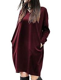 ZANZEA Vestidos Sudadera Mujer Cuello V Manga Larga Otoño Jerseys de Punto Mujer Largos Casual Tallas Grandes