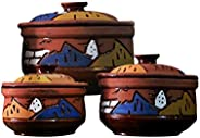 A colorful rustic pottery set consisting of 3 pieces of different sizes