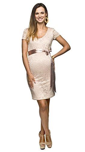 Élégant fait confortable et robe, robe de mariée, mariage pour les femmes enceintes modèle: Lace Beige-rose