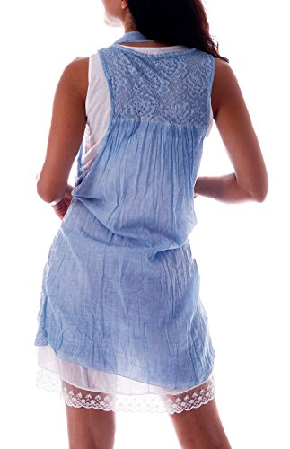 Sommerkleid Romantik Tunika 3tlg. Unterkleid, Tunika, Schal Hell Blau