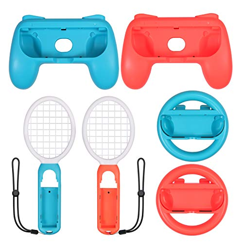 LiNKFOR 3 In 1 Kit per Nintendo Switch 2 Grip Impugnature Racchetta da Tennis e Volante Kit Impugnatura di Switch Controller per Joycon Accessori per Gioco di Mario Tennis Aces