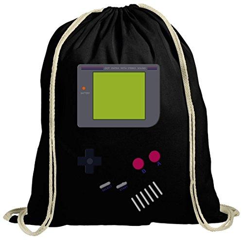 Videospiel Videogame Gamer Game Computerspiel natur Turnbeutel Gym Bag Retro Spielkonsole schwarz natur