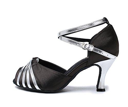 Minitoo gl193b Donna Nodo Raso Sintetico Latina professionale scarpe da ballo matrimonio sera sandali Black