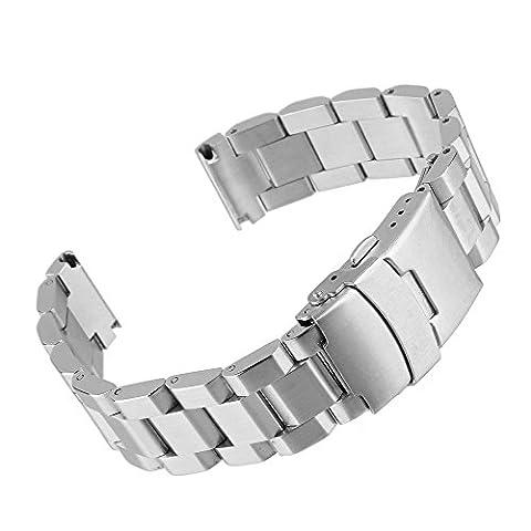 Beauty7 18/20/22/24 mm Bande Bracelet de Montre Boucle Deployante Acier Remplacement Bande de Poignet Etanche Argente Homme Femme