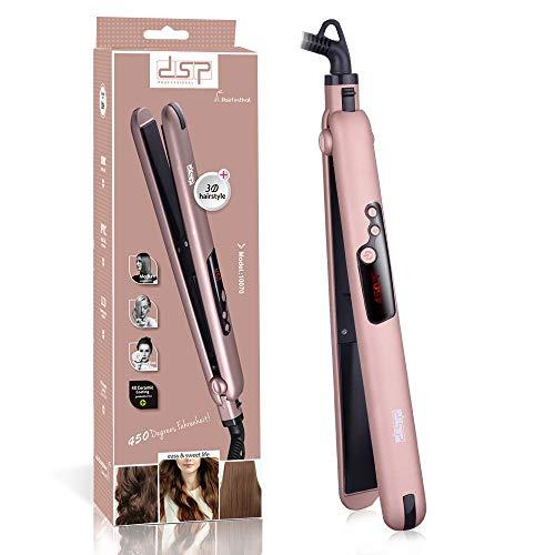 DSP Professioneller 2-in-1 Haarglätter Lockenwickler Mini Glätteisen ,Elektrisch Aufheizbar ,Rose Gold (Gold Glätteisen Rose)