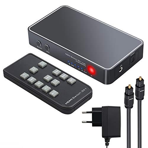 eSynic 3 Ports HDMI Switch mit Audio Pip Extractor Unterstützt 4K 3D HDMI Switcher HDMI auf HDMI Optisches TOSLINK SPDIF und 3,5 mm Audio mit IR Fernbedienung EU Netzteil Toslink Kabel 2M