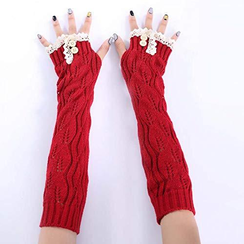 JFASJ Gloves Mode Lange Handschuhe Herbst Winter warme Frauen Ellenbogen Handschuhe Arm wärmer Handschuh weiche gestrickte Fingerlose Handschuhe mit Spitzenknopf -