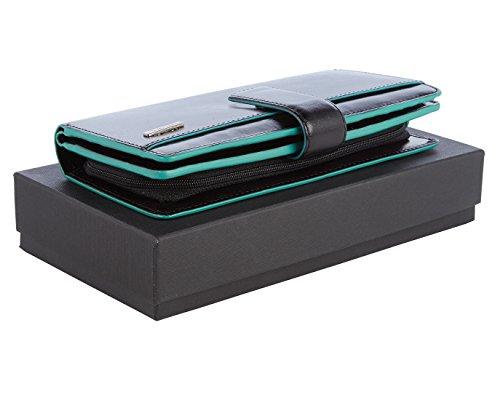 """Visconti portafoglio di pelle da donna a piegatura doppia """"Verona"""" gallone nero/blu Large Purse (VR10): nero (black)"""
