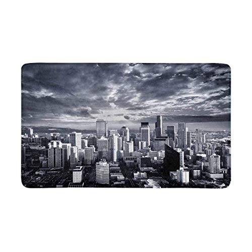 Lower Manhattan Skyline (LIS HOME New York City Lower Manhattan Skyline Fußmatte Indoor Outdoor Eingang Teppich Fußmatten Schuhkratzer Fußmatte rutschfeste Wohnkultur, Gummiunterlage)