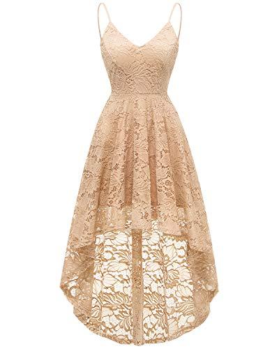 bridesmay Elegant Spitzenkleid Ärmellos Asymmetrisches Cocktailkleid Festlich Hochzeit Partykleid Abendkleid Champagne ()