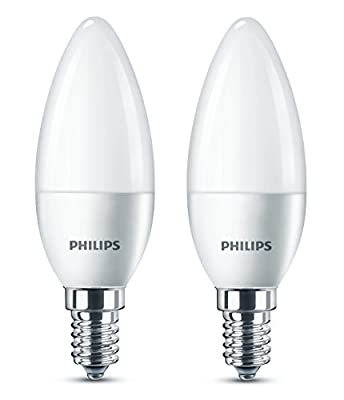 Philips LED E14 Small Edison Screw Candle Light Bulb, Frosted, 5.5 W (40 W) - Warm White
