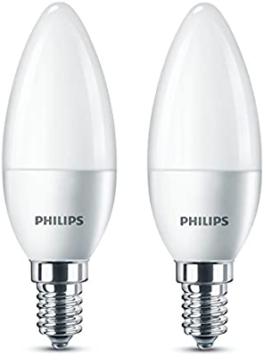 Philips - Pack de bombillas vela LED, luz blanca cálida, 5,5 W, equivalente a 40 W, casquillo E14, no regulable