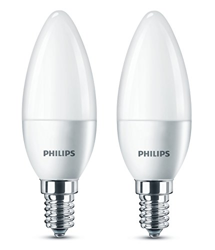 Philips LED E14 Small Edison Screw Candle Light Bulb, Frosted, 5.5 W (40 W) - Warm White, Pack of 2
