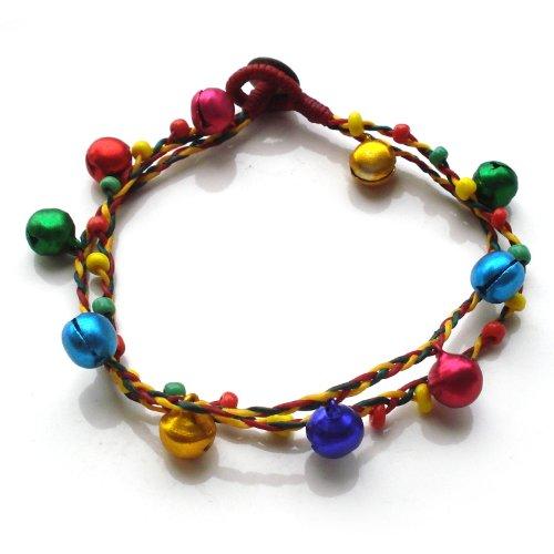 Idin Fußband - Handgemachtes Fußband aus gewachsten Fäden mit Beads und Glöckchen (ca. 25 cm lang)