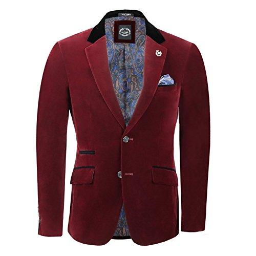 Xposed Mens Maroon Velvet Vintage 3 Piece Suit Blazer Waistcoat Trouser Sold Separately