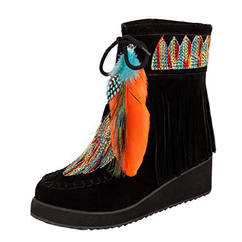 Sunnywill Stiefel Damen Schwarz Leder Mit Absatz Schuhe Elegant Herbst Boots Blockabsatz Wildleder Lange Fransen Bestickt (Wildleder Bootie Fransen)
