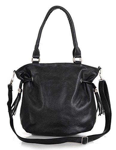Kukubird Kunstleder klassische Drawstring Quaste Detaillierung Schultertasche Handtasche Black