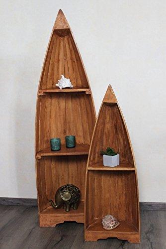 Exotisches Set Holz Regal Bootsregal Boot Bootsform braun hellbraun 145cm & 95cm