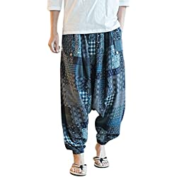 Zhhlinyuan Harén Pantalón Hombre y Mujer ropa hippie Pantalones Tailandeses Pantalones Yoga Harem Pants for Mens Womens Baggy Loose Fit