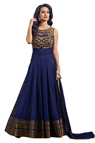 Maxthon Fashion Women\'s Blue Soft Net Embroidery Anarkali Unstitched Free Size XXL Salwar Suit Dress Material (Women\'s Clothing 2041)