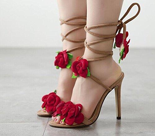 GS~LY Regali Cross-legato ad alta sandali con tacco apricot