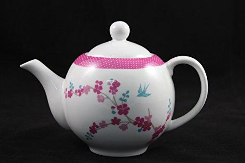 ELIH Porzellan 'Tetera Porcelana Lotus Redondo, Diseño Clásico con zartem Decoración Floral, para 4–6Tazas