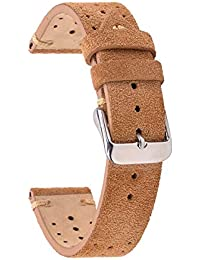 Leather Watch Strap,Eache Racing Band,Handmade Rally Suede Leather Sport Perforated Watch Band
