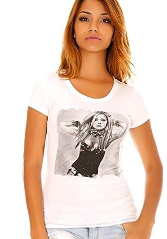 dmarkevous - Tee shirt blanc imprimé photo avril lavigne -