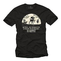 Lustiges Sprüche T-Shirt mit Tieren - Der Hase Hoppelt - Coole Sachen schwarz Herren L