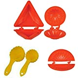 Enerex The Kitchen Mall, Plastic Moulds of Samosa/Kachori/Ghughra/2 pieceLadava (Multicolour) - Set of 5