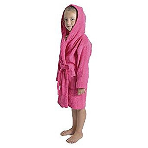 Children Dressing Gown Kids Boys Girls Hooded Towelling Bathrobe 100% Cotton Terry Towel Bath Robe Soft Towling Lounge Wear - Perfect Present Gift 7-13 Years (11-12, Pink)