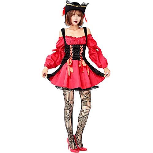 Piraten Kostüm Frauen Tote - Story of life Damen Piraten Kostüm Halloween Party Karneval Spiel Uniform Kleidung Cosplay Performance Bühnenkostüm,Red,M