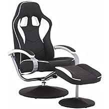 Cavadore TV-Sessel Racer 01 / Verstellbarer Sessel mit Hocker im Rennfahrer-Design / Lederimitat Schwarz-Weiß / Ergonomische Rückenlehne / drehbar / 82 x 69 x 108 cm (T x B x H)