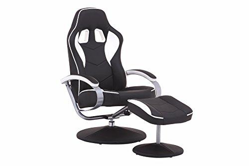 CAVADORE TV-Sessel und Hocker, Kunstleder, Schwarz/weiß, 82x69x108 cm