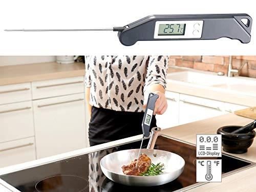 Rosenstein & Söhne Teethermometer: Digitales Haushalts-Thermometer, klappbar, 13-cm-Fühler, bis 200 °C (Zuckerthermometer)