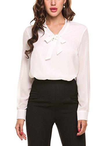 Beyove Damenshirt Classics Herbst Frühling Lockere V-Ausschnitt Chiffon T-Shirt Basic Schluppenbluses Einfarbig Weiß