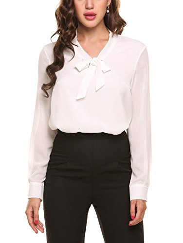 Beyove Damenshirt Classics Lockere V-Ausschnitt Chiffon T-Shirt Basic Schluppenbluses Bluse Langarmshirt Einfarbig, Weiß, EU 38(Herstellergröße:M)